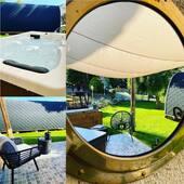 Après une journée chaude , on se rafraîchit dans le jacuzzi ☀️💦 #pod #chambredhotes #garden #jacuzzi #jacuzzitime #cumieres #tourism #champagne